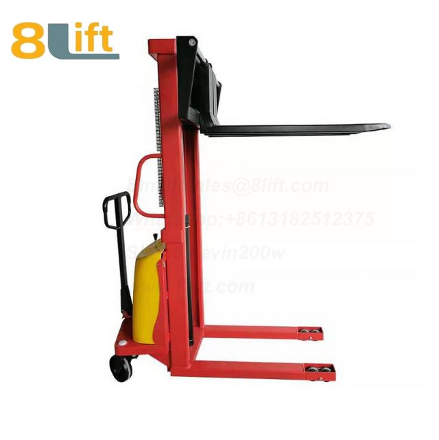 1.6m automatic Adjustable wide width fork Hydraulic semi electric pallet stacker-1-1
