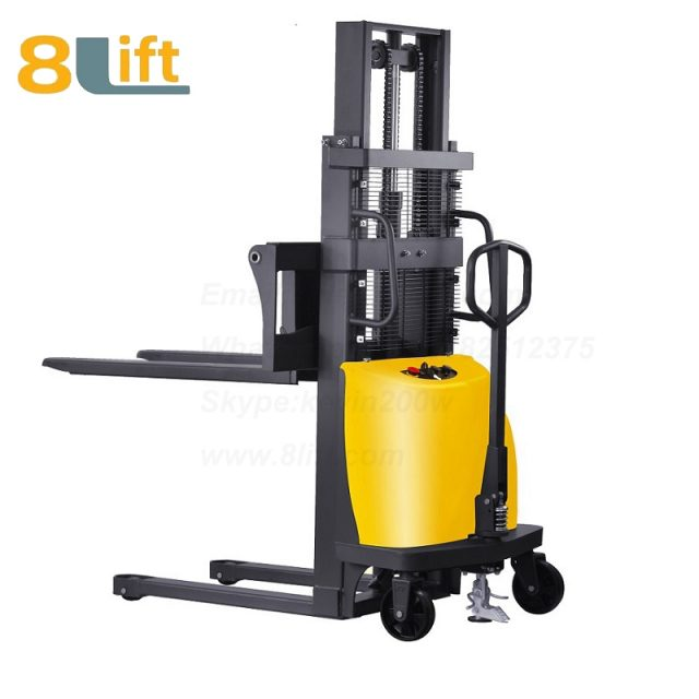 1T 1000KGS 1.6M Double Mast Fram automatic Adjustable wide width fork Hydraulic semi electric pallet stacker-3-1
