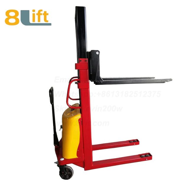 2m Double Mast Fram automatic Adjustable wide width fork Hydraulic semi electric pallet stacker-2-1