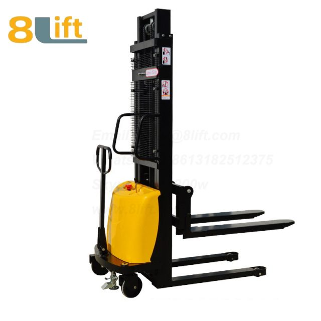 Double Mast Fram automatic Adjustable wide width fork Hydraulic semi electric pallet stacker-4-1