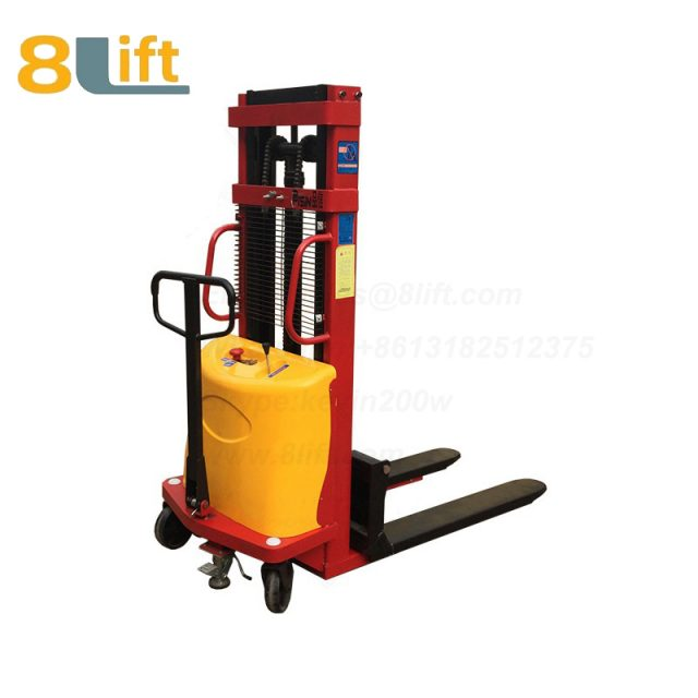 Double Mast Fram automatic Adjustable wide width fork Hydraulic semi electric pallet stacker-5-1
