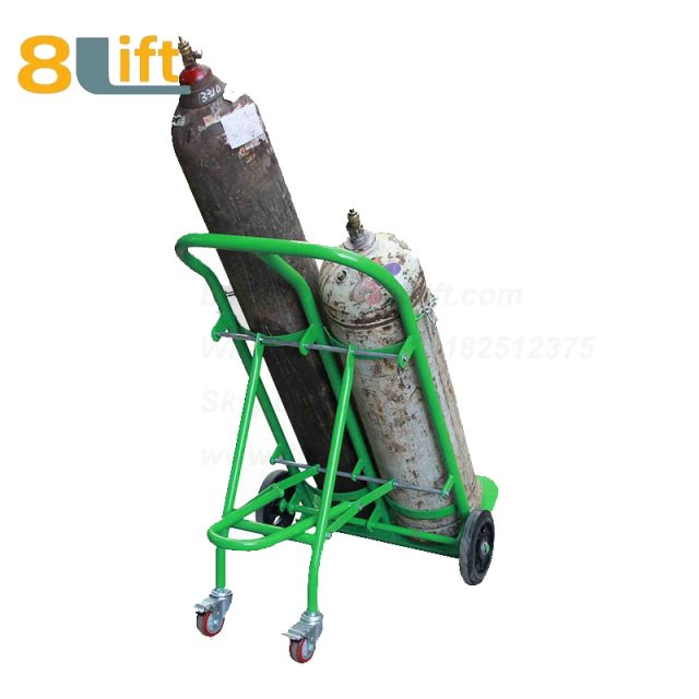 Double position Manual Hand High load bearing Heavy Duty Solid rubber wheel Acetylene Oxygen cylinder cart trolley TY130