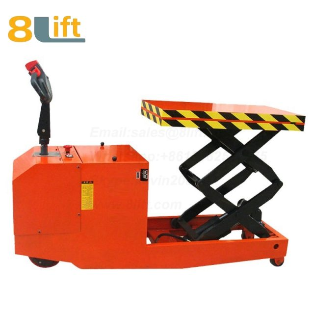 Full electric Automatic self propelled pedestrian walkie Hydraulic scissor platform lift tablel-2-1