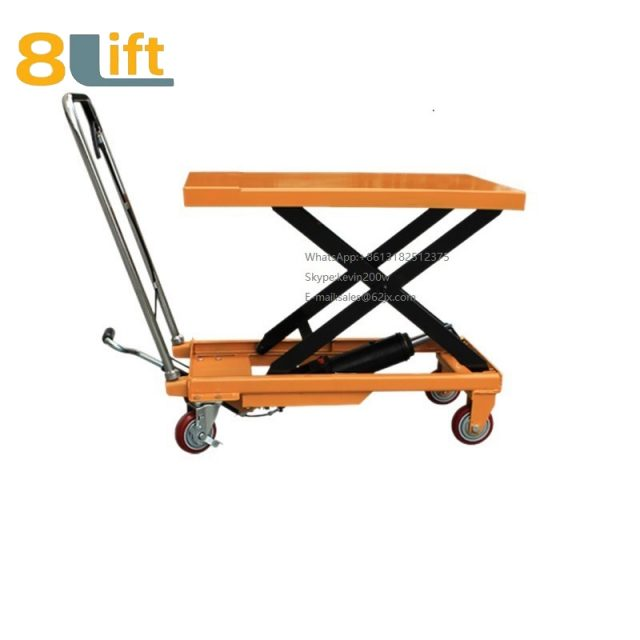 Hand Operated Manual Hydraulic scissor move mobile moveable movable platform lift table with wheel-1-1