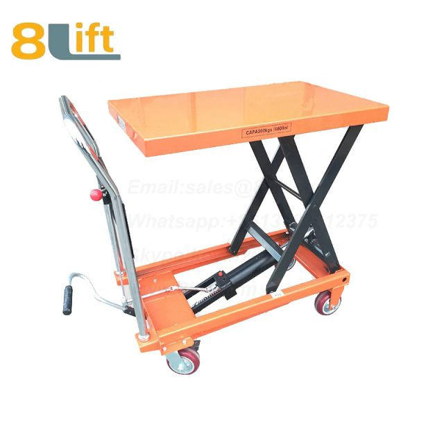 Hand Operated Manual Hydraulic scissor move mobile moveable movable platform lift table with wheel-3-1