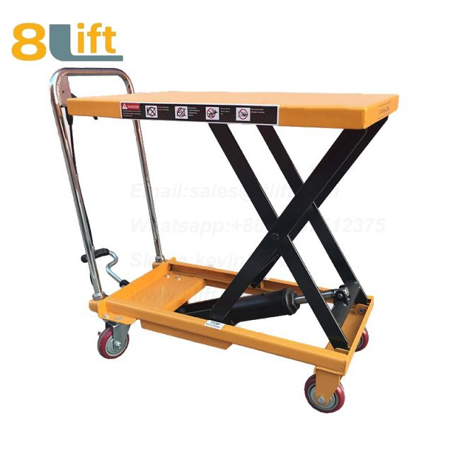 Hand Operated Manual Hydraulic scissor move mobile moveable movable platform lift table with wheel-4-1