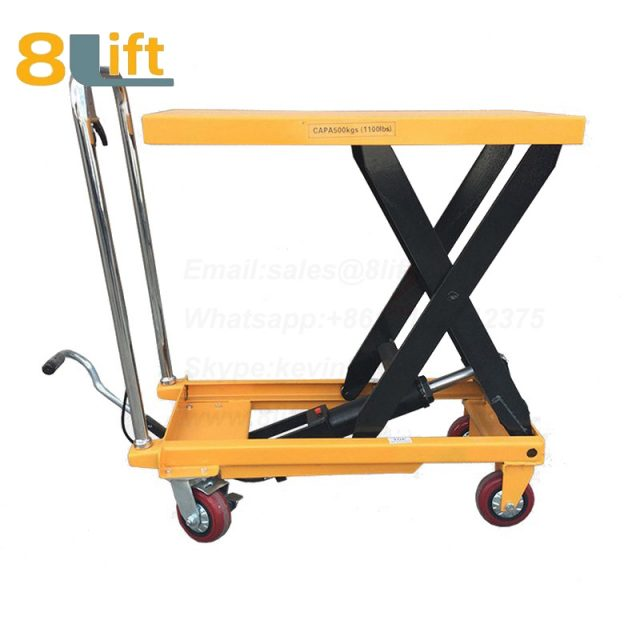 Hand Operated Manual Hydraulic scissor move mobile moveable movable platform lift table with wheel-5-1