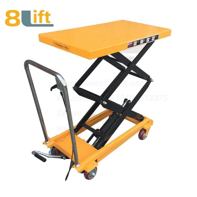 Hand Operated Manual Hydraulic scissor move mobile moveable movable platform lift table with wheel-6-1