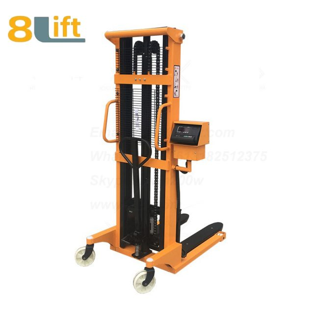 Hydraulic Adjustable wide width fork scales Manual hand operated stacker-2-1