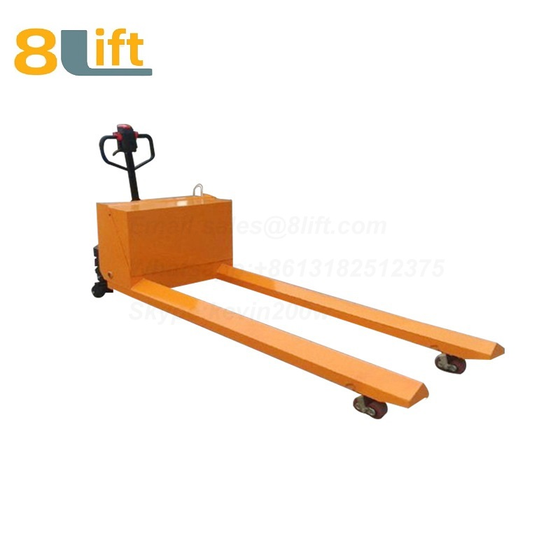 Hydraulic Automatic battery powered self propelled pedestrian walkie extra Long fork leg steel coil roll paper roll yarn roller pallet jack overlength electric Pallet Truck-3-1