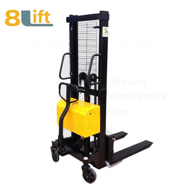 Hydraulic Automatic plug-in ac powered Adjustable wide width fork scales semi electric pallet stacker-3-1