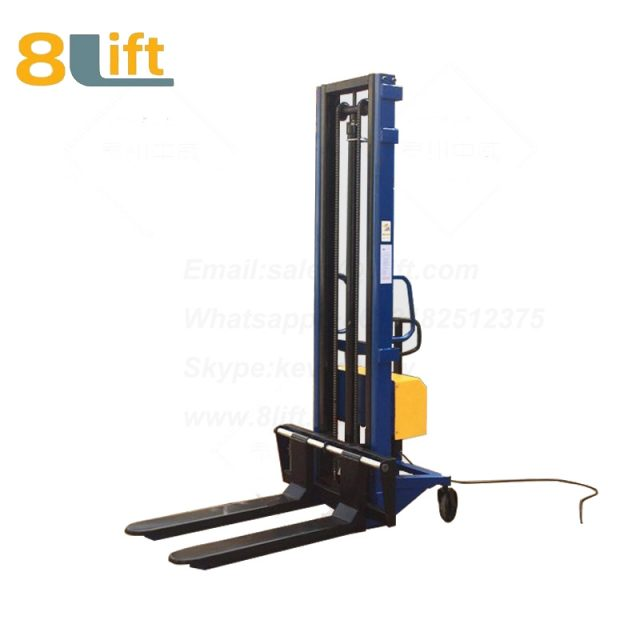 Hydraulic Automatic plug-in ac powered Adjustable wide width fork scales semi electric pallet stacker-4-1