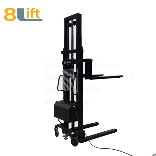 Hydraulic Automatic plug-in ac powered Adjustable wide width fork scales semi electric pallet stacker-5-1