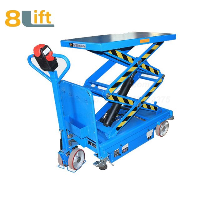 Hydraulic Automatic self propelled pedestrian walkie electric platform lift table-1-2