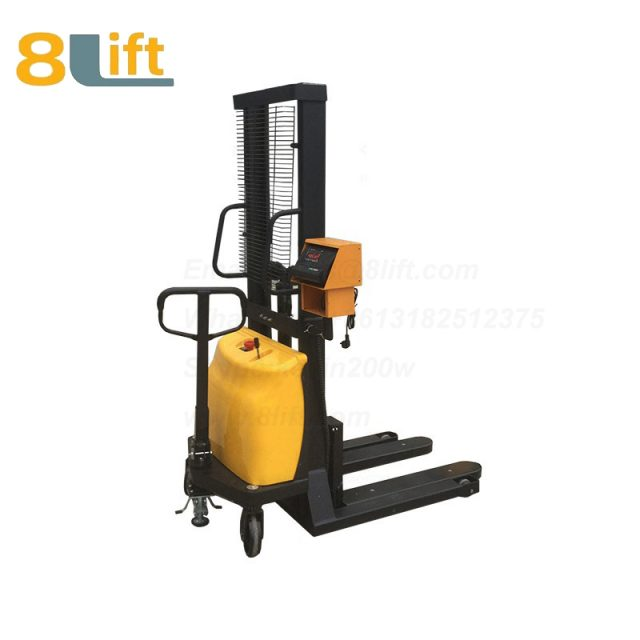 Hydraulic Battery Powered Automatic Adjustable wide width fork scales semi electric stacker-1