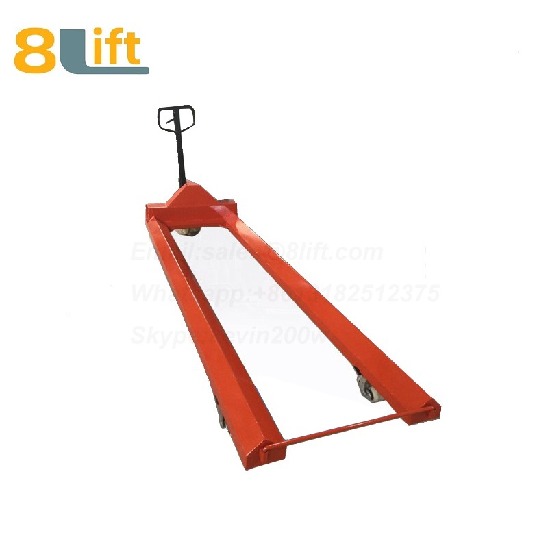 Hydraulic Manual Hand operated lift extra Long fork leg steel coil roll paper roll yarn roller pallet jack overlength electric Pallet Truck-6-1