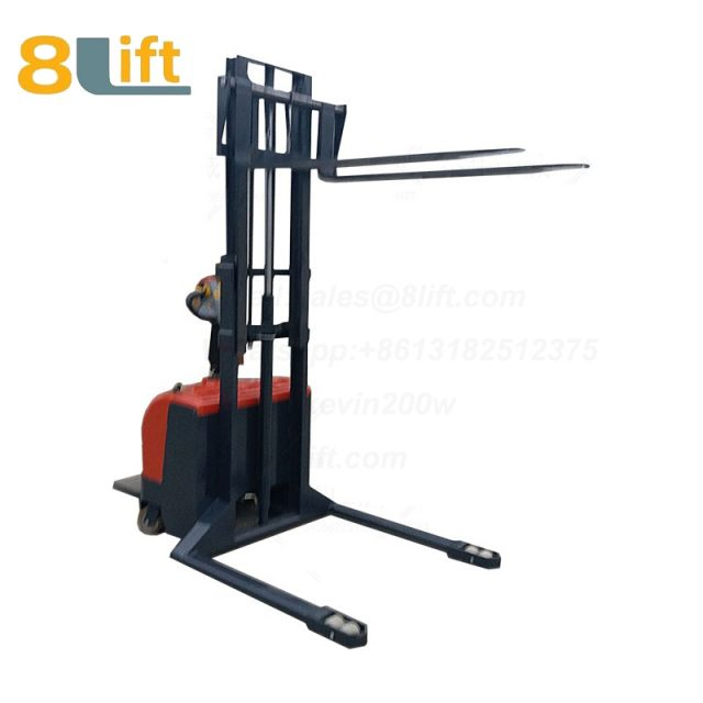 Hydraulic Straddle Leg Adjustable width fork stand standing on driving Full electric stacker-6-1