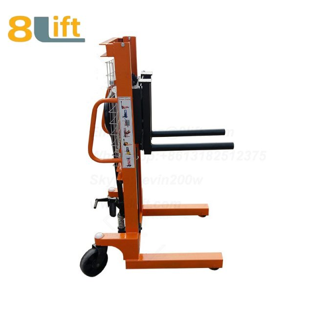 Hydraulic double round bar fork reel roller coil lifter manual stacker-7-1