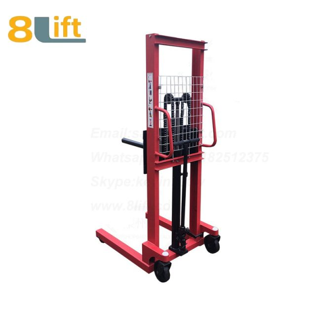 Hydraulic single round bar fork reel roller coil lifter manual stacker-5-1