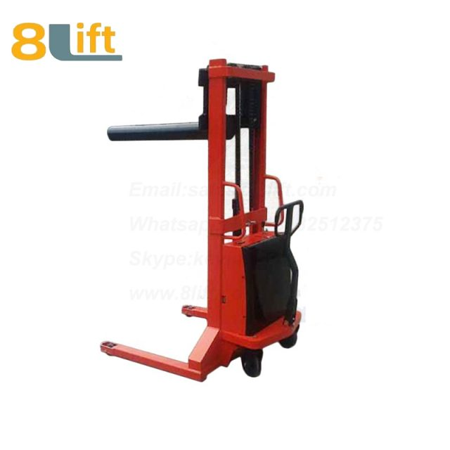 Hydraulic single round bar fork reel roller coil lifter semi electric stacker-3-1