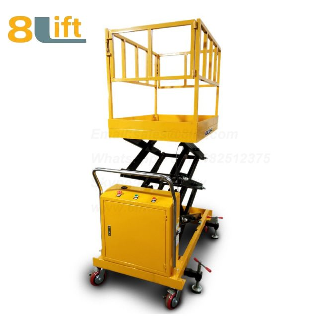 Semi electric Hydraulic scissor move mobile moveable movable platform lift table with Fence railing-2-1