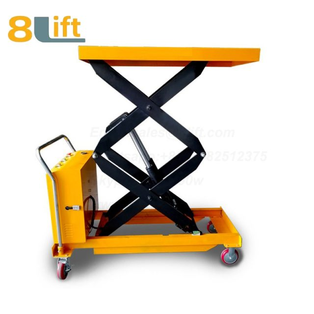 Semi electric Hydraulic scissor move mobile moveable movable platform lift table with wheel-1-1