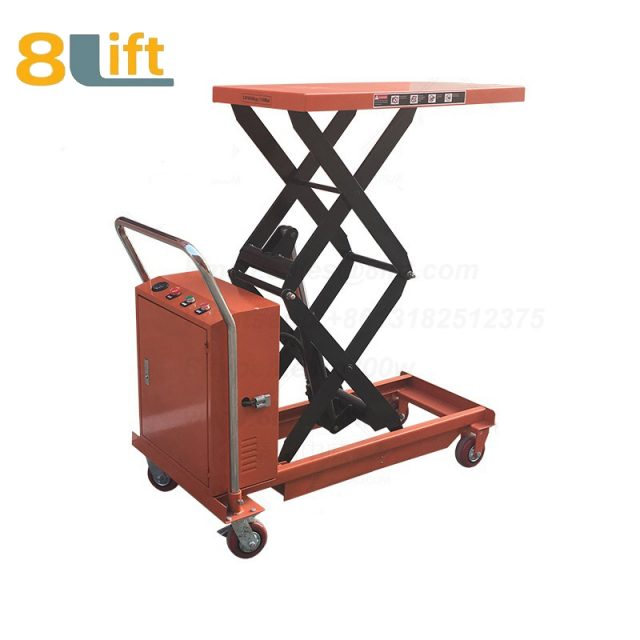 Semi electric Hydraulic scissor move mobile moveable movable platform lift table with wheel-3-1