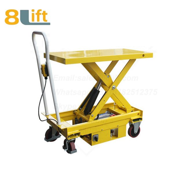 Semi electric Hydraulic scissor move mobile moveable movable platform lift table with wheel-4-1