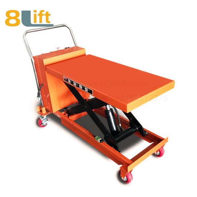 Semi electric Hydraulic scissor move mobile moveable movable platform lift table with wheel-6-1