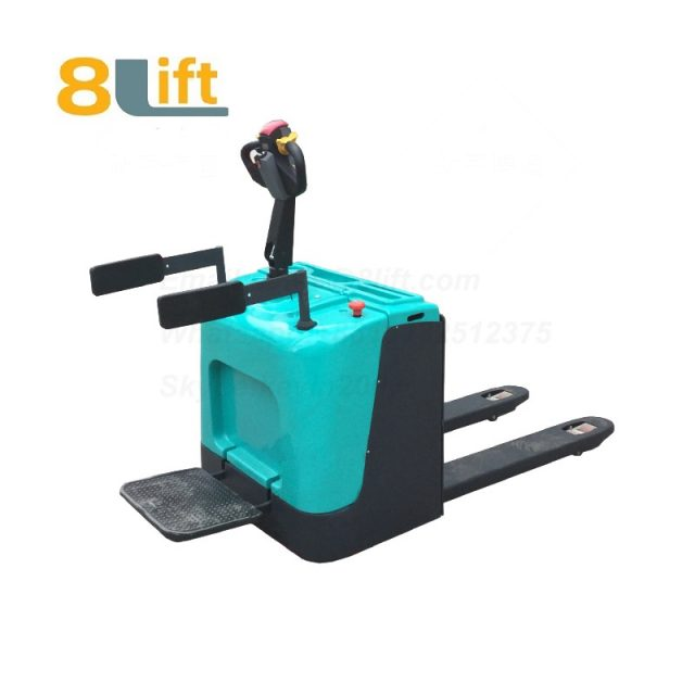 Stand Standing on Driving Drive Hydraulic Automatic move and lift battery powered self propelled Pallet jack Full All electric Pallet Truck-3-1