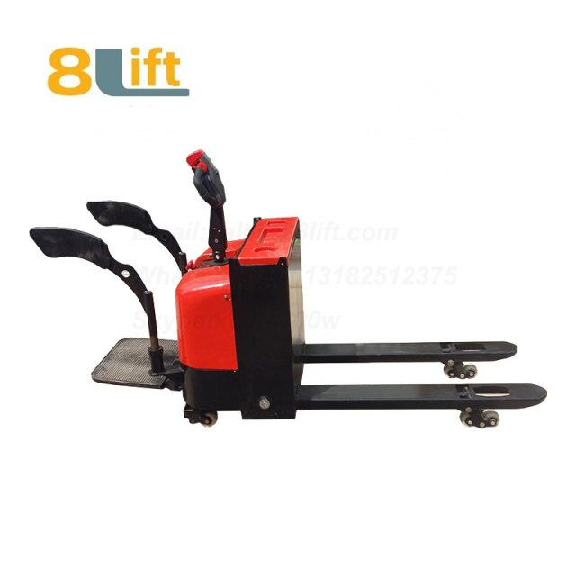 Stand Standing on Driving Drive Hydraulic Automatic move and lift battery powered self propelled Pallet jack Full All electric Pallet Truck-6-1