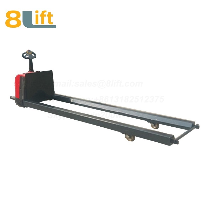 Standing on Driving Hydraulic Automatic move battery powered self propelled extra Long fork leg steel coil roll paper roll yarn roller pallet jack overlength electric Pallet Truck-4-1