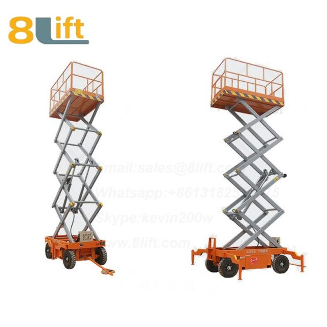 electric lift ladder Aerial man work electric Hydraulic scissor mobile movable platform lift table with Fence railing-5-1