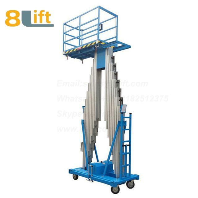 electric lift ladder Double Mast Aluminum Alloy Aerial man work electric Hydraulic mobile movable platform lift table with Fence railing-2-1