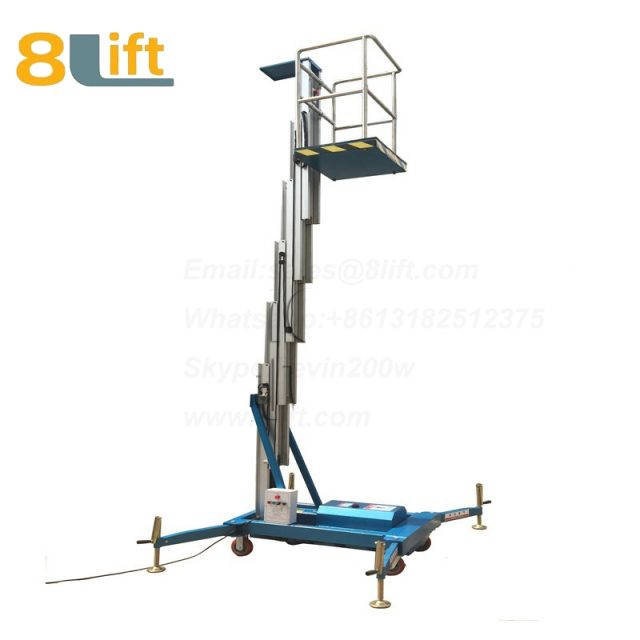electric lift ladder Single Mast Aluminum Alloy Aerial man work electric Hydraulic mobile movable platform lift table with Fence railing-1-1
