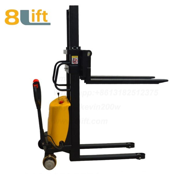 Double Mast Fram automatic Adjustable wide width fork Hydraulic semi electric pallet stacker-6-1