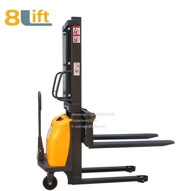 Double Mast Fram automatic Adjustable wide width fork Hydraulic semi electric pallet stacker-7-1
