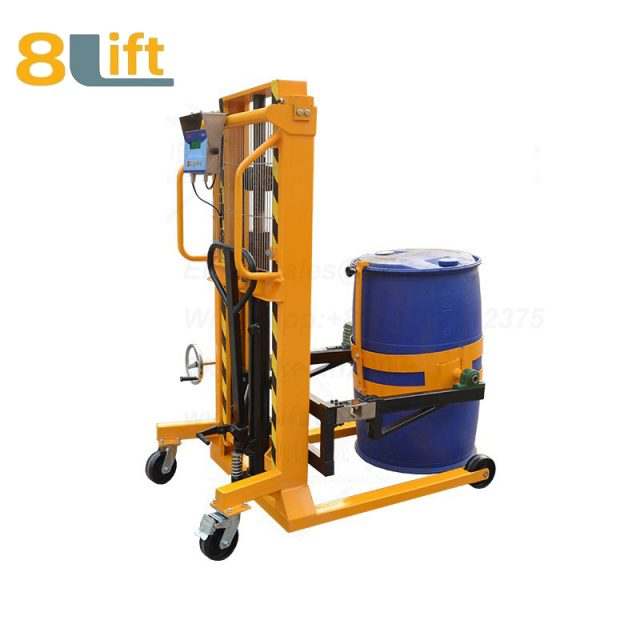 Explosion proof Hydraulic Manual Lift and Move Eagle mouth Clamp Handing Clip Hook Hoop Type Manual Hand Tilting Flip Rotate Scale Manual Hand Oil Drum stacker1