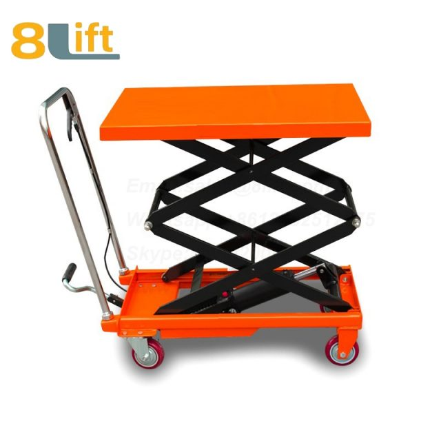 Hand Operated Manual Hydraulic scissor move mobile moveable movable platform lift table with wheel-2-1