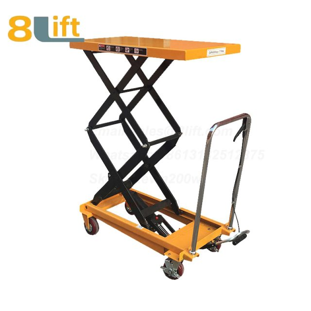 Hand Operated Manual Hydraulic scissor move mobile moveable movable platform lift table with wheel-7-1