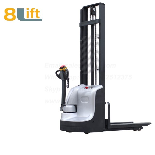 Hydraulic Automatic Battery Powered self propelled pedestrian walkie electric pallet stacker-4-1