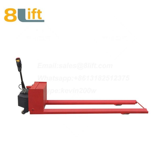 Hydraulic Automatic battery powered self propelled pedestrian walkie extra Long fork leg steel coil roll paper roll yarn roller pallet jack overlength electric Pallet Truck-2-1