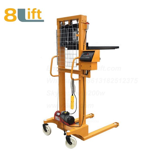 Hydraulic Automatic plug-in ac powered Adjustable wide width fork scales semi electric pallet stacker-1-1
