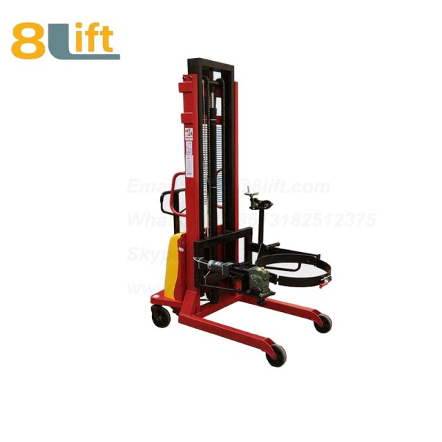 Hydraulic Batter Power Lift Double Mast Fram Eagle mouth Clamp Handing Clip Hook Hoop Type Electric Automatic Tilting Flip Rotate Oil Drum Semi Electric stacker1-1