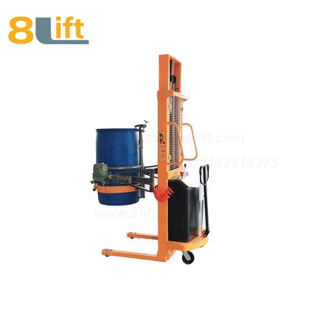 Hydraulic Batter Power Lift Double Mast Fram Eagle mouth Clamp Handing Clip Hook Hoop Type Electric Automatic Tilting Flip Rotate Oil Drum Semi Electric stacker2-1