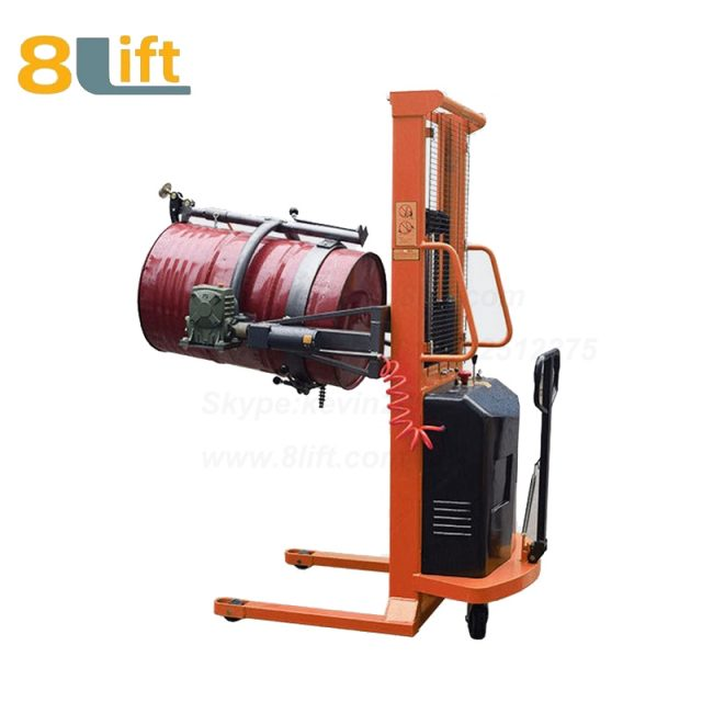 Hydraulic Battery Power Lift Eagle mouth Clamp Handing Clip Hook Hoop Type Electric Automatic Tilting Flip Rotate Oil Drum Semi Electric stacker1-1