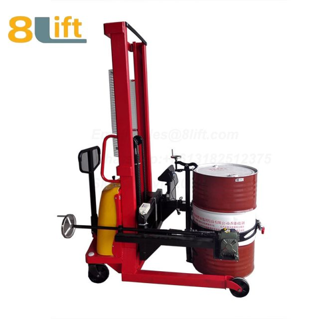 Hydraulic Battery Power Lift Eagle mouth Clamp Handing Clip Hook Hoop Type Manual Hand Tilting Flip Rotate Oil Drum Semi Electric stacker1-1