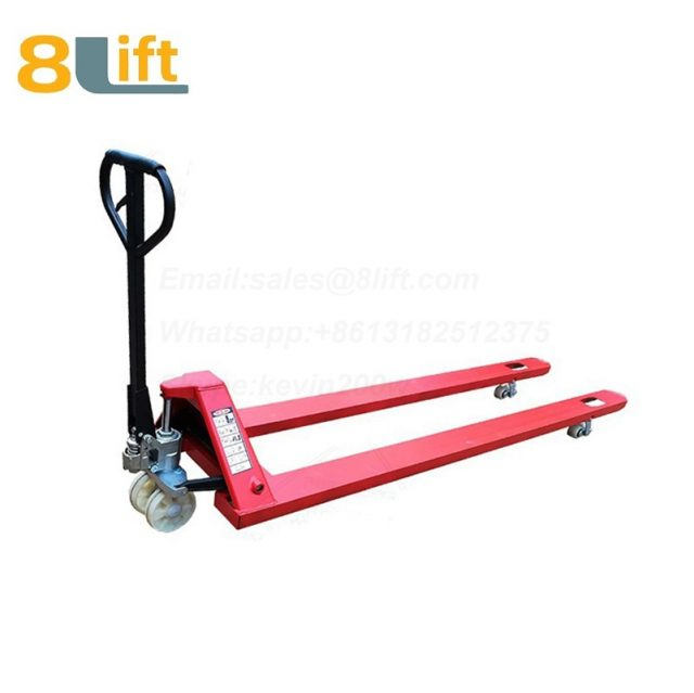 Hydraulic Manual Hand operated lift Super extra Long fork Overlength pallet jack Pallet Truck-6-1