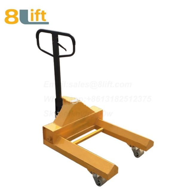 Hydraulic Manual Hand operated lift Super extra Short length fork leg steel coil roll paper roll yarn roller pallet jack Pallet Truck-1-1