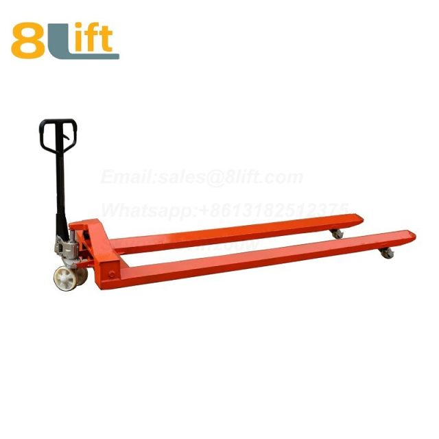 Hydraulic Manual Hand operated lift extra Long fork leg steel coil roll paper roll yarn roller pallet jack overlength electric Pallet Truck-7-1